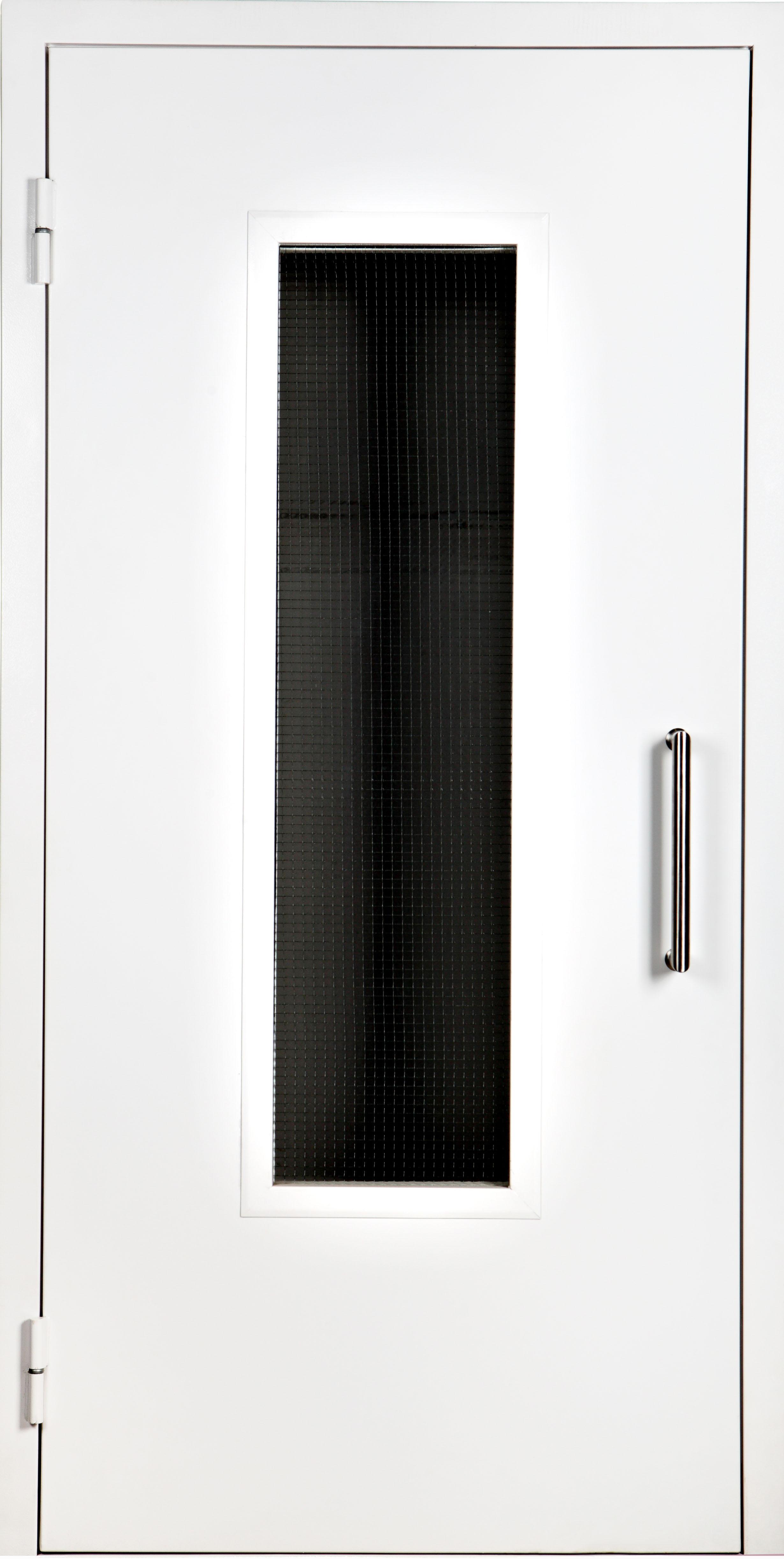 техническая металлическая дверь с окном уличная